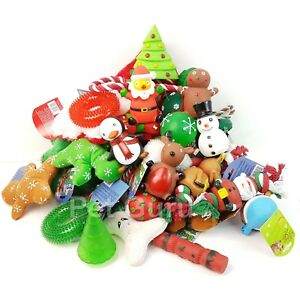 BULK PACK CHRISTMAS ASSORTED PET DOG SQUEAKY BALL ROPE