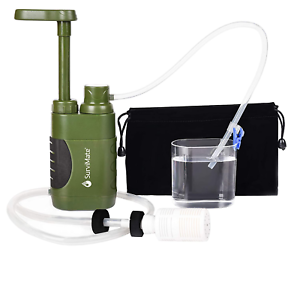 SurviMate Portable Water Filter Pump for Hiking Camping Travel Emergency use wit