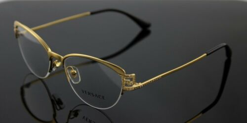 New Authentic VERSACE Brushed Gold Black Crystal EyeGlasses Frame VE 1239B 1339