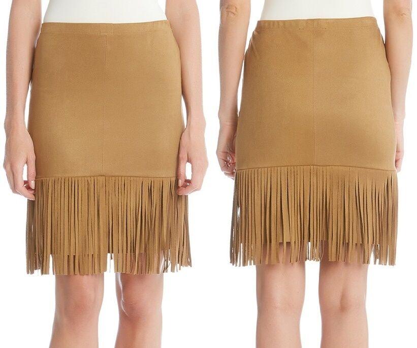 Karen Kane L72557 Camel Beige Stretch Faux Suede Fringe Pencil Skirt - MSRP