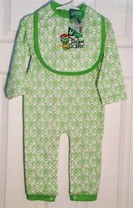Baby-Golf-Theme-Long-Sleeve-Romper-Matching-Bib-Pink-or-Green
