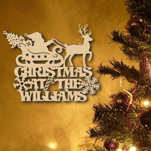 Personnalisé Noël au nom de bois signe plaque de Noël Couronne décor