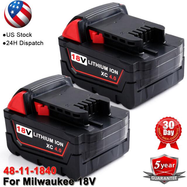2x 18V 4.0AH Li-ion Akku für Milwaukee M18 XC M18B4 M18B2 48-11-1852 48-11-1850