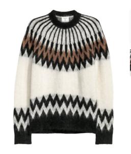 e665410eea01d NWT ERDEM x H&M Cream Cream Cream & Brown Knit Mohair Blend Sweater SZ S  SOLD OUT 984c0d