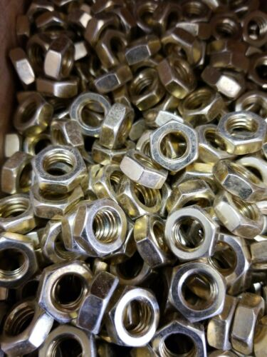 3//8-16 HEX JAM NUTS YELLOW// ZINC PLATED STEEL 300 THIN HALF NUT