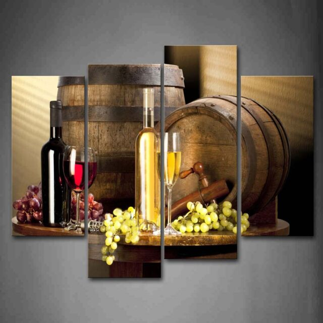 Various Wine With Grape Wall Art For Kitchen Size 12x26inchx2 12x35inchx2