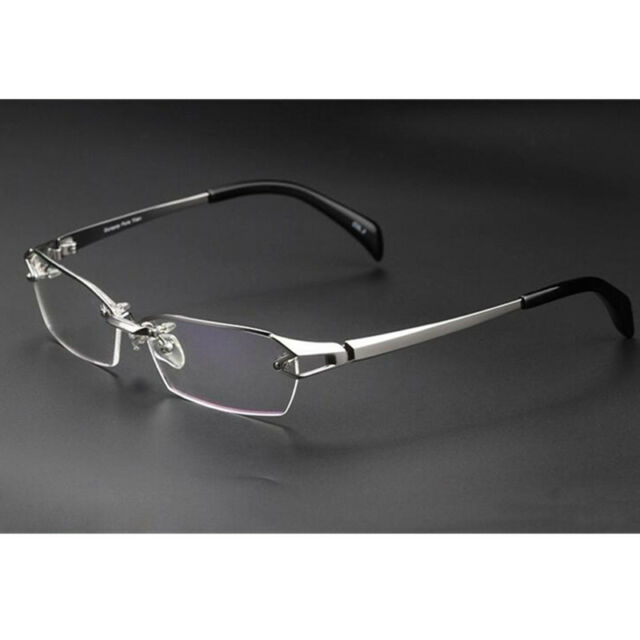 7b2519aad7 100% Pure Titanium Silver Eyeglass Frames Half Rimless Men Women Glasses Rx  able