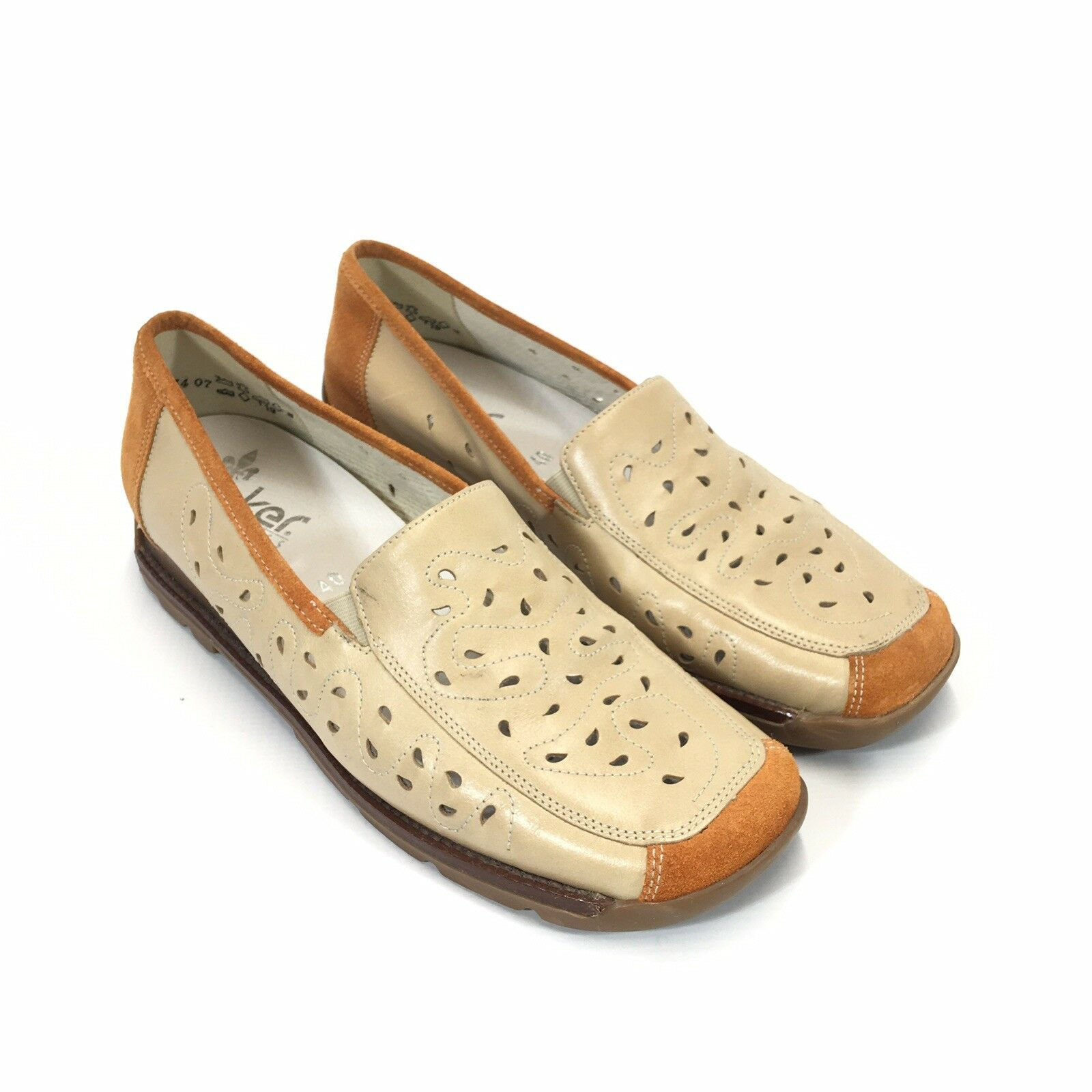 Rieker Perforated Leather Loafer Womans 40 8.5 Tan Brown Slip On Antistress