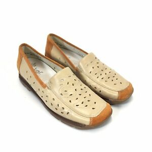 Details about Rieker Perforated Leather Loafer Womans 40 8.5 Tan Brown Slip On Antistress