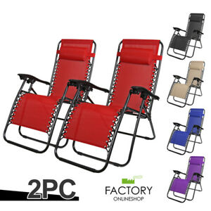 X2-Zero-Gravity-Chairs-Folding-Lounge-Beach-Outdoor-Patio-Reclinable-Steel