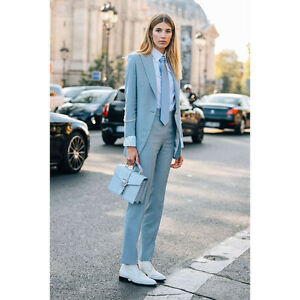 Light Sky Blue Womens Business Suits Female Office Uniform Elegant