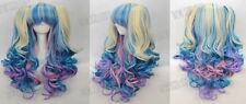 2015 New style Wig + 2 Pig Tails Set Pastel Rainbow Mix Blend Cosplay NEW
