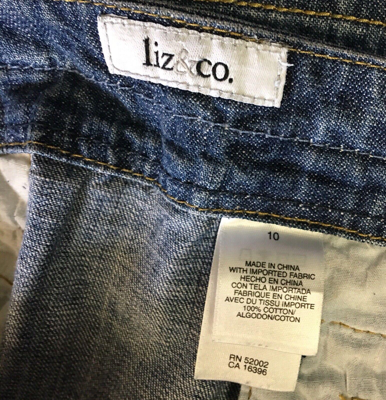 Liz & Co Button Front Denim Skirt Womans 10 Mediu… - image 4