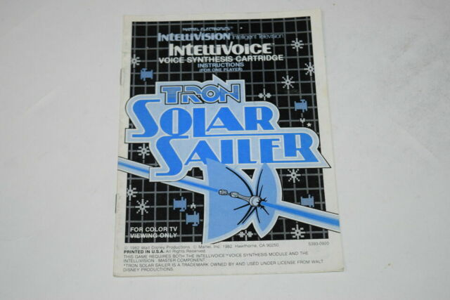 Tron Solar Sailer Intellivision Video Game Manual Only