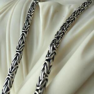 5mm Boys Men Box Byzantine Chain Necklace Oxide 925 Sterling Silver 80GR 24Inch