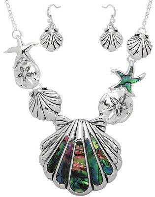 Beautiful Sea Life Turtle Necklace and Earrings Set Abalone Shell Fast Shipping