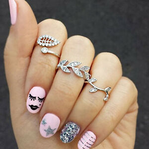 6-X-Hot-Fashion-Women-039-s-Alloy-Silver-Rhinestone-Leaf-Above-Knuckle-Finger-Ring