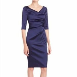 Talbot-Runhof-Blue-Elbow-Sleeve-Ruched-Dress-Cocktail-1750-MSRP-sz-10