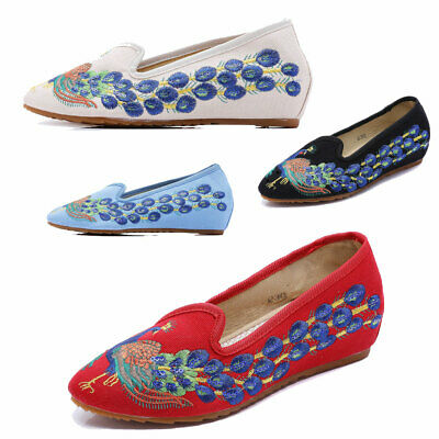 Womens Chinese Folk Embroidered Flat