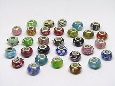 NEW 31pc/Lot Sterling Silver & Murano Lampwork Glass Beads For European Charm