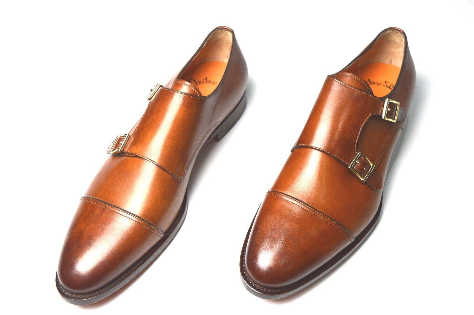 NEW SANTONI Dress Monk Strap Leather schuhe Größe Eu 44.5 44.5 44.5 Uk 10.5 Us 11.5 (1R) 142e84