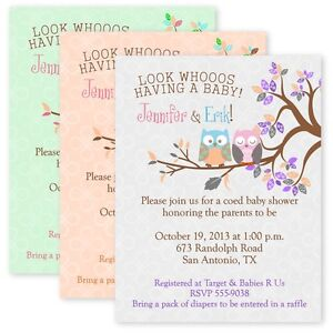 Large 5x7 quality owl baby shower invitations owl birthday image is loading large 5x7 quality owl baby shower invitations owl filmwisefo