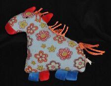Peluche doudou cheval licorne KÄTHE KRUSE bleu rouge orange grelot 20 cm TTBE