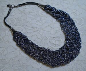 VINTAGE BRAIDED MULTI STRAND GUNMETAL GLASS SEED BEADED COLLAR NECKLACE 19""