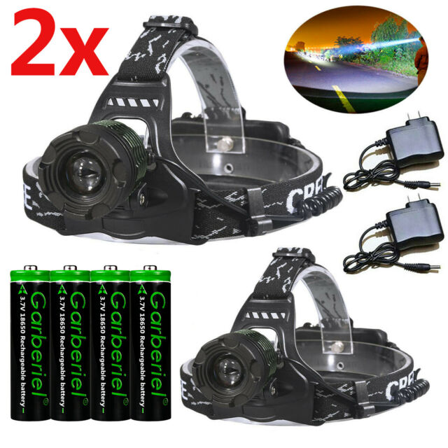 Rechargeable Head light T6 LED Military Headlamp Zoomable+Charger+2*18650 Light