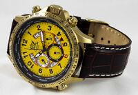 Luxus Chronograph Cavadini Uhr Tachymeter Drehbare Ring Ip-gold Plat.gelb Ziffer