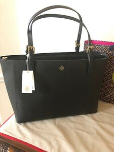d61a37ae86243 Tory Burch Emerson Large Buckle Tote Black Saffiano Leather Handbag ...