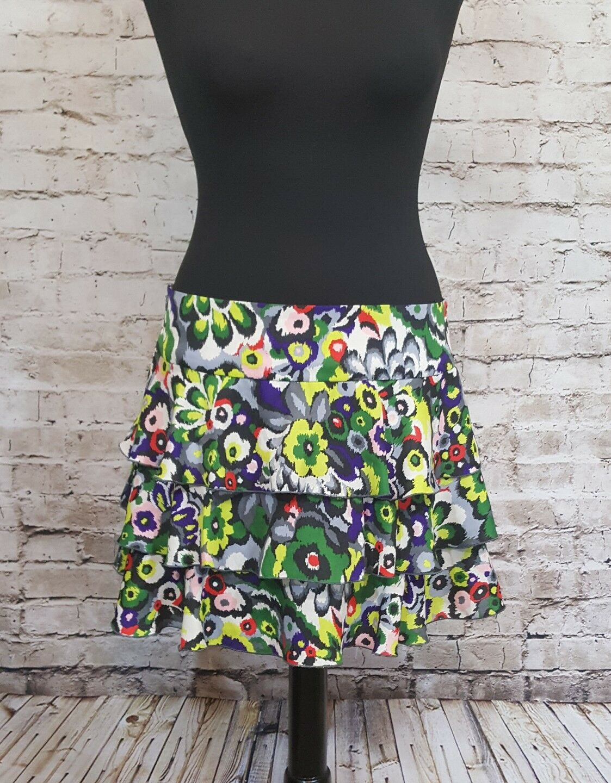 AX Armani Exchange Ruffled Multicolor Floral Mini Skirt Women's Size 8 EUC