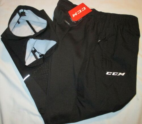NWT Men/'s S CCM Ice Hockey BLACK Lightweight TEAM Issue WARM UP PANT Rink Suit