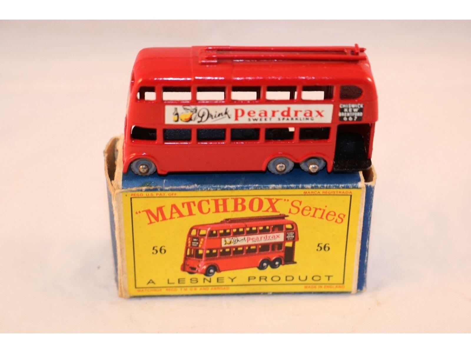 Matchbox A Moko Lesney No 56 Trolley bus  Peardrax  GPW 99,9% mint in box
