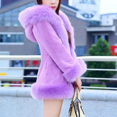 d'hiver Veste en capuche à long poil et fourrure femmes fausse pour avec épais HUH0c6wq