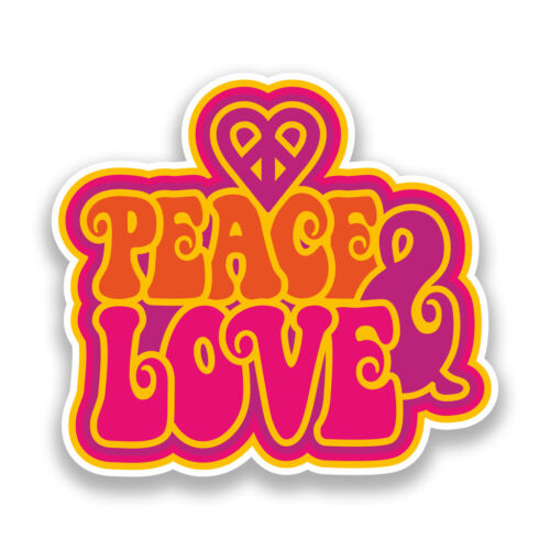 2 x Peace and Love Retro Vinyl Stickers Travel Luggage #7336
