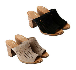 8783eec9db8 Women Toms PERFORATED LEAF MAJORCA MULE Sandals NEW