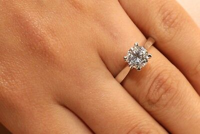 1 Ct Round Cut Diamond Solitaire Engagement Ring 14k White Gold Enhanced Ebay