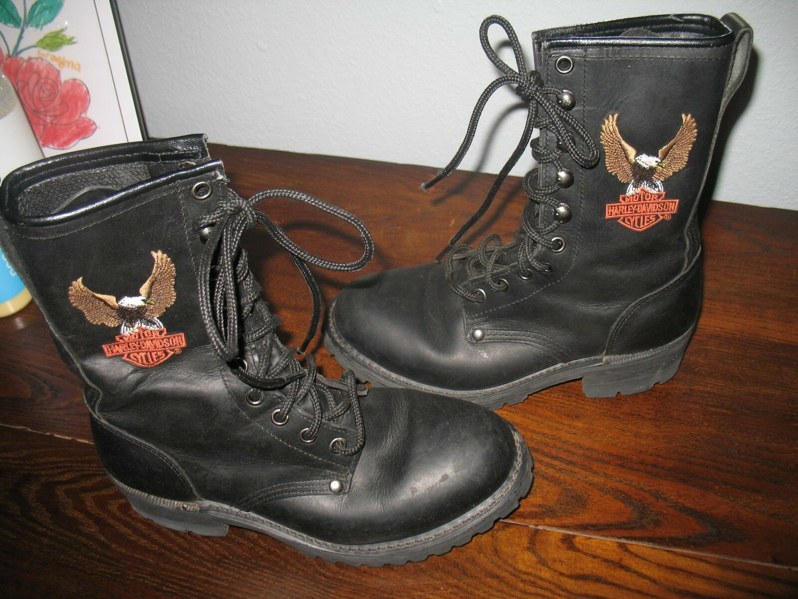 Vintage Harley Davidson Womens 6.5M Black Leather Combat Lace Up Boots