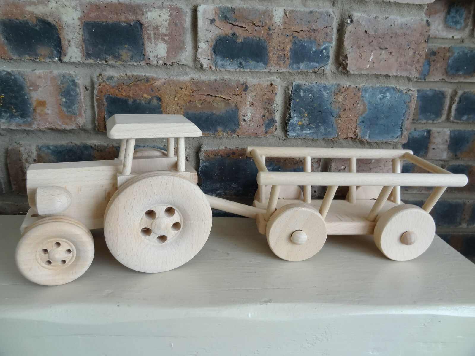 Tractor with hay trailer, wooden beautiful toy