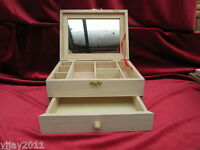 Plain Wooden Jewellery Box with Mirror and Drawer 7 Compartments Gift Idea