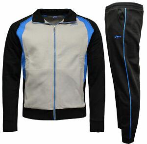 Details about Asics Tuta Fashion Mens Full Tracksuit Top Bottoms Grey Black 7608A9.SW90 A69E