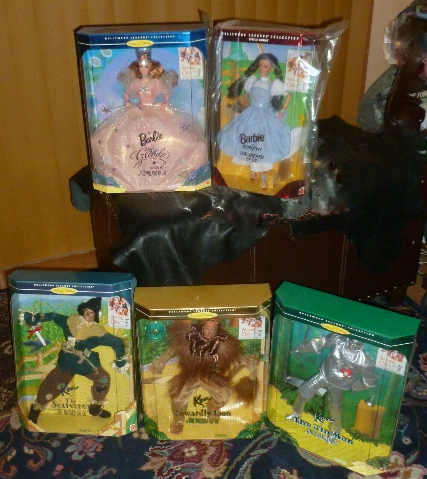 LOT Set Nuevo Cajas 5 Mago de Oz muñecas Barbie Ken Hollywood Legends 1994'95'96