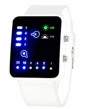 BIANCO LED Binario Digitale Orologio Da Uomo Moda Casual Sport Orologi da polso Regno Unito S WHT