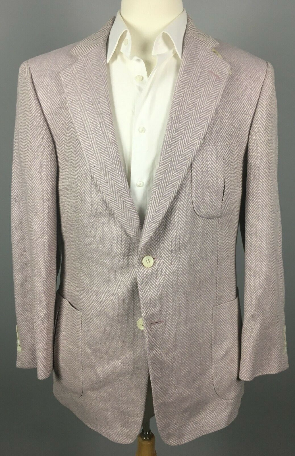 NWT Paul Stuart 'Stuart III' Silk Herringbone Sport Coat 43L Purple ,184