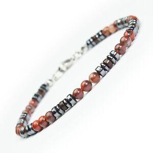 Bijou-Homme-Femme-Bracelet-perles-pierres-gemme-mousqueton-acier-inoxydable