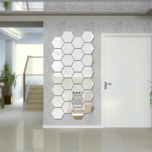 Modern 12pcs Mirror Geometric Hexagon Acrylic Wall Sticker Decor Art DIY Home