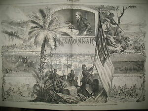 ETATS-UNIS-GUERRE-AMERIQUE-PRISE-ATLANTA-SAVANNAH-GENERAL-SHERMAN-GRAVURES-1865