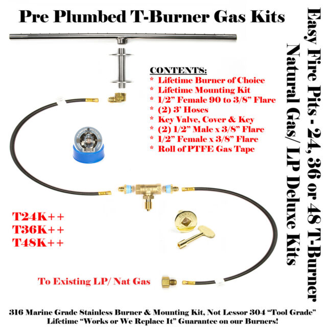 T36k 36 T Burner In Ss316 For Plumbed Natural Gas Or Lp Deluxe Fire