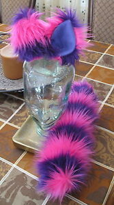 Cheshire Cat pink/purple stripe luxury shag fur ears,tail or ear & tail sets